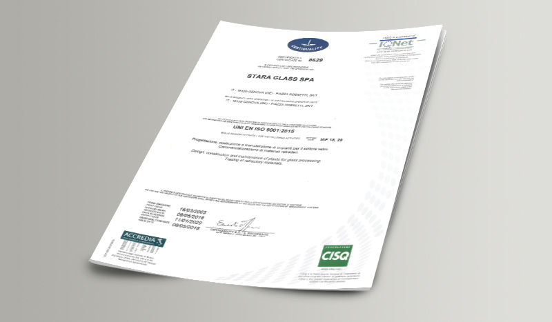 Certificate Stara Glass UNI EN ISO 90012015 CQ